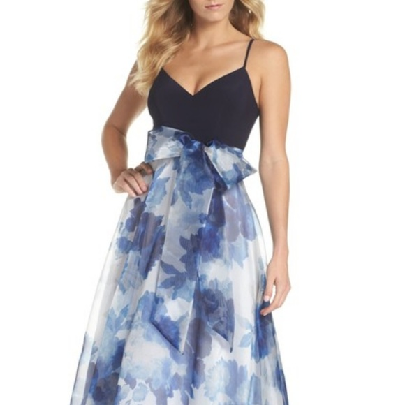 515be324aa Eliza J Dresses | Floral Organza Gown Size 14 Blue Reg 188 | Poshmark